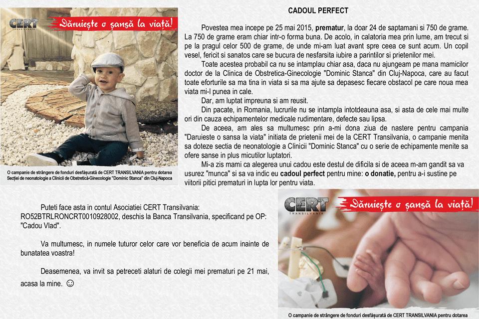 Bebelușii născuți prematur au nevoie de ajutor. CERT Transilvania a demarat o campanie de strângere de fonduri pentru a cumpăra aparatură medicală