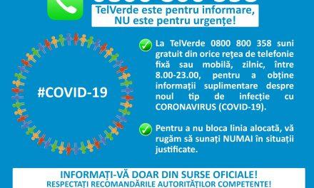 Linia TelVerde la care puteți afla informații despre coronavirus este funcțională