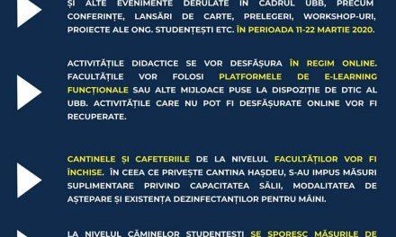 """Universitatea """"Babeș-Bolyai"""" suspendă cursurile în perioada 11 – 22 martie, din cauza Coronavirus"""
