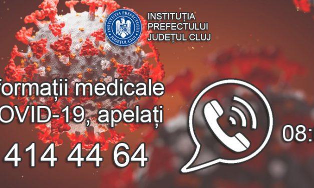 Persoanele infectate cu COVID-19 pot apela o nouă linie telefonică care funcţionează în judeţul Cluj