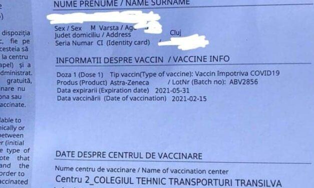 Unul dintre loturile cu probleme de la Astra Zeneca a ajuns la Cluj şi în alte oraşe din ţară. Vaccinarea a fost suspendată
